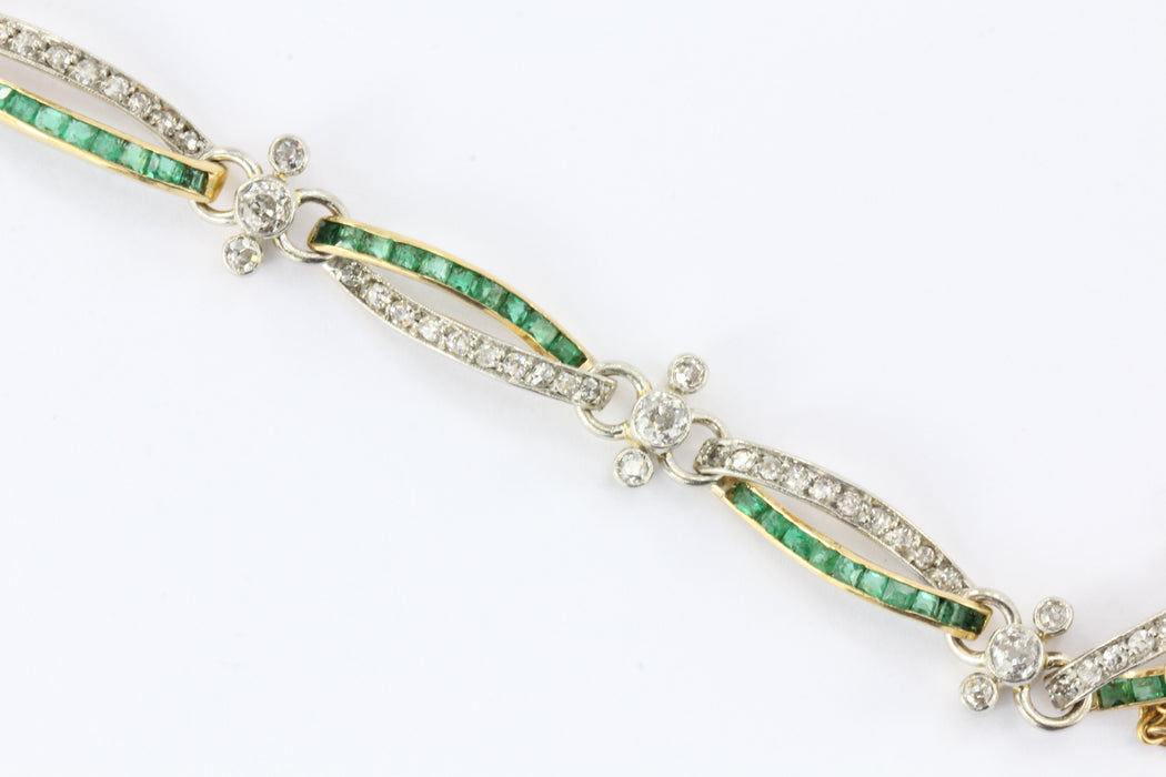 Edwardian 18K Yellow Gold Emerald and Diamond Bracelet - Queen May