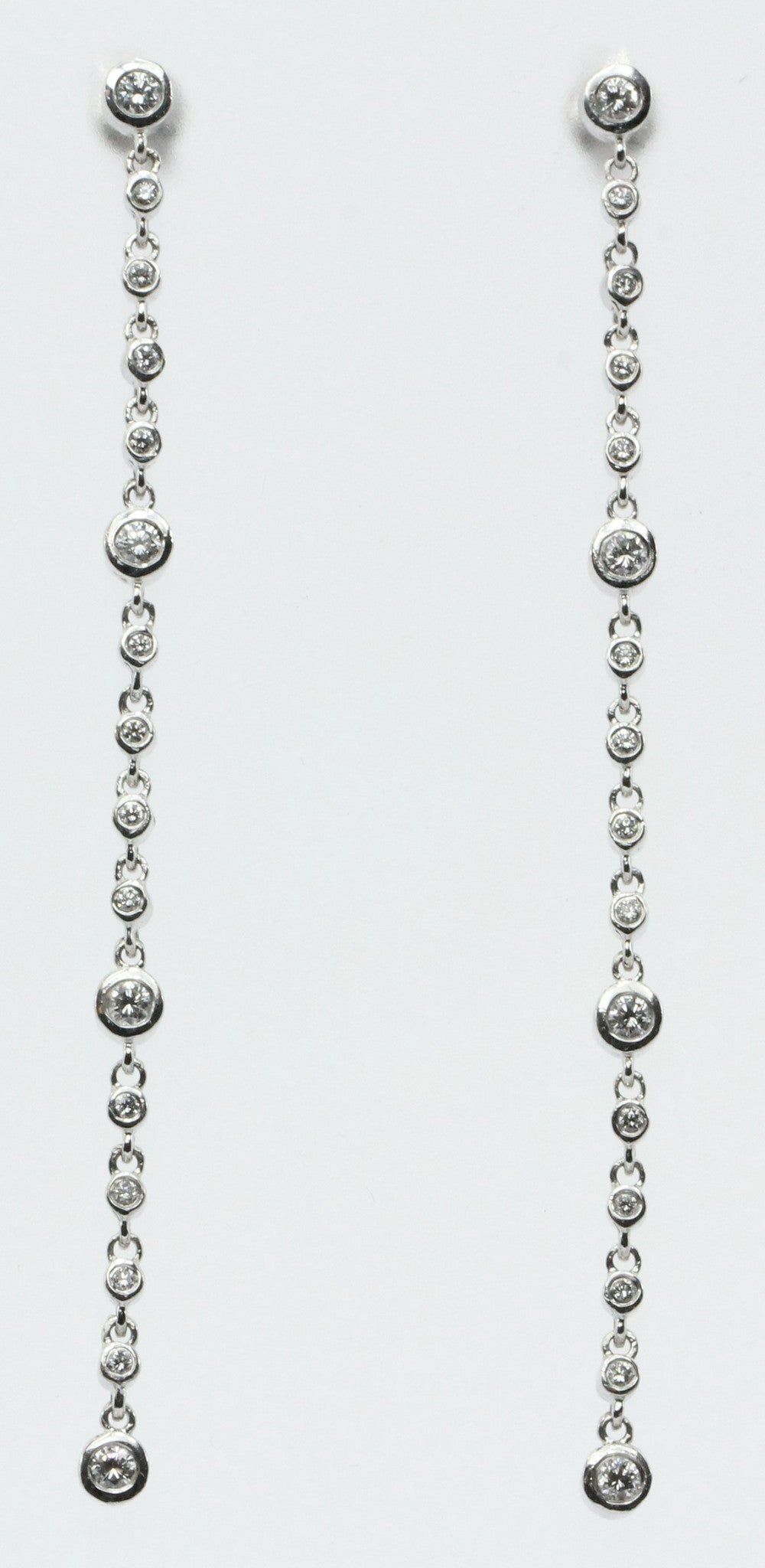 "14K White Gold & Diamond by the Yard 3"" Dangle Drop Earrings .75 TCW"