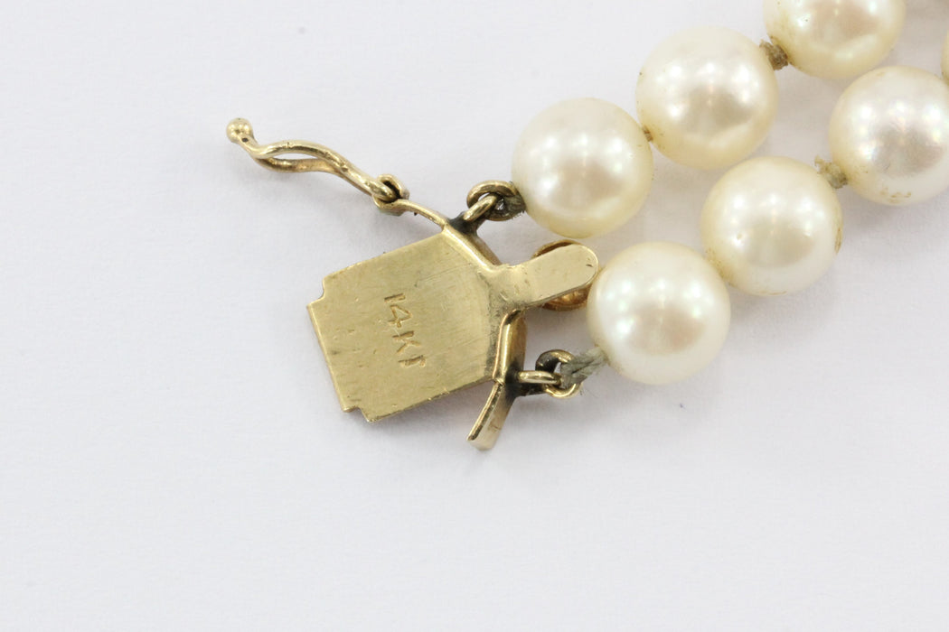 Vintage 14K Gold Double Pearl Strand Bracelet - Queen May