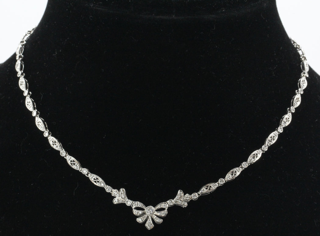 Vintage 14K White Gold & Diamond 2 CTW Belle Epoque Style Necklace - Queen May