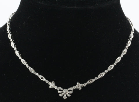Vintage 14K White Gold & Diamond 2 CTW Belle Epoque Style Necklace