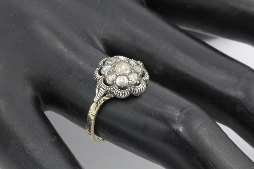 Georgian 15k Gold Foil Backed Rose Cut Diamond Floral Cluster Ring c.1800 - Queen May