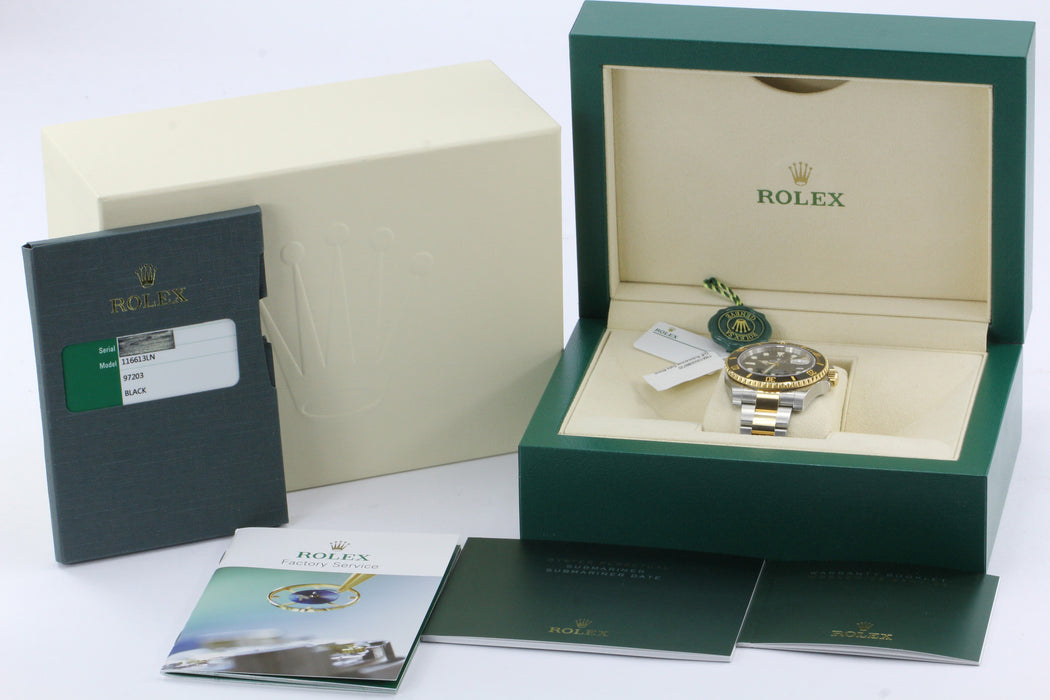 Rolex Black Dial Submariner Stainless 18K Gold Oyster Automatic Watch 116613 - Queen May