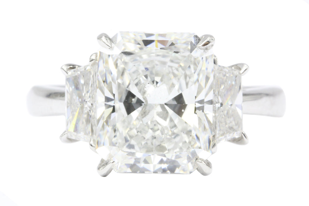 Platinum 4.01CT Radiant Cut Diamond Engagement Ring - Queen May