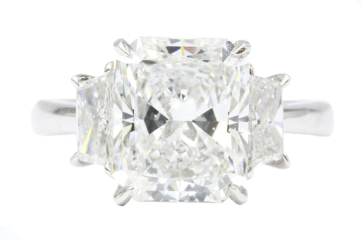Platinum 4.01CT Radiant Cut Diamond Engagement Ring