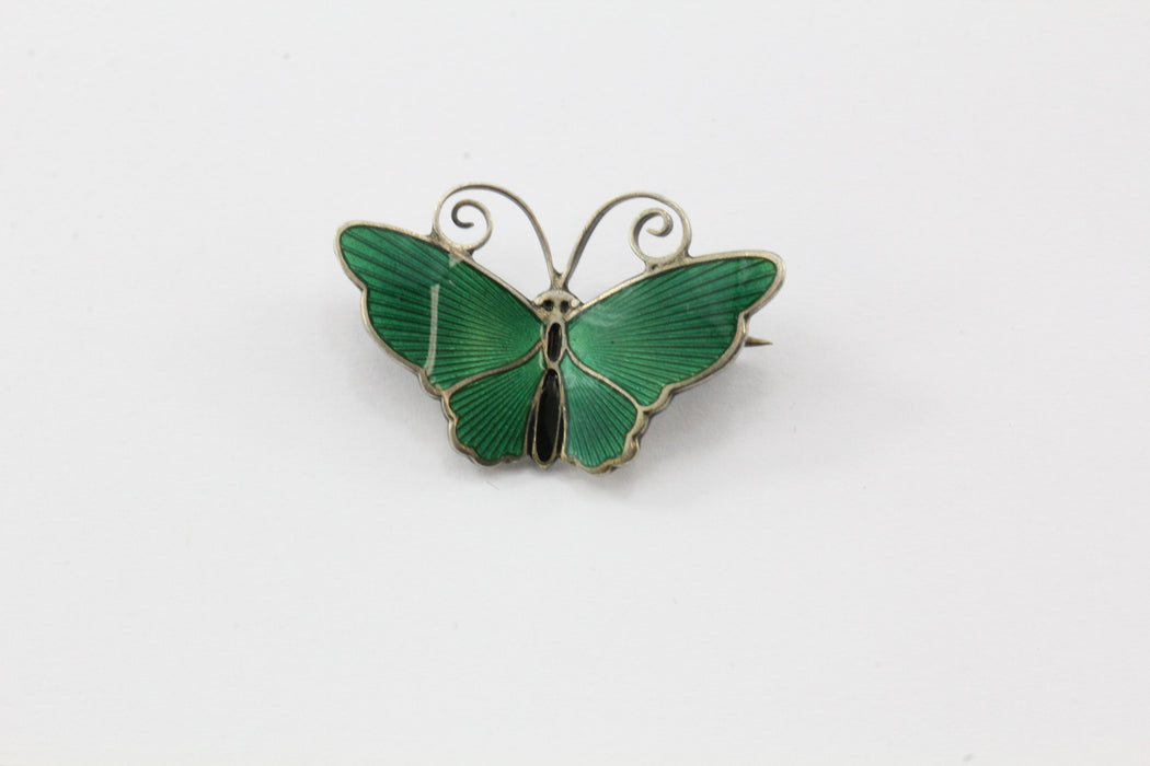 Antique Sterling Silver David Anderson Green Enamel Butterfly Brooch Pin - Queen May