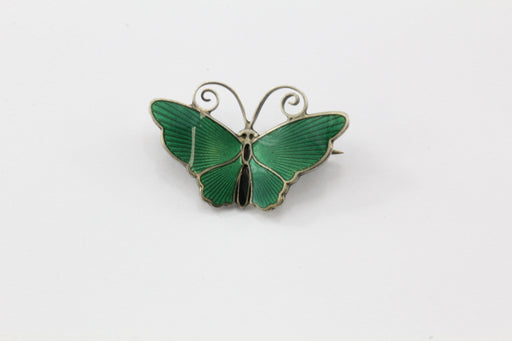 Antique Sterling Silver David Anderson Green Enamel Butterfly Brooch Pin