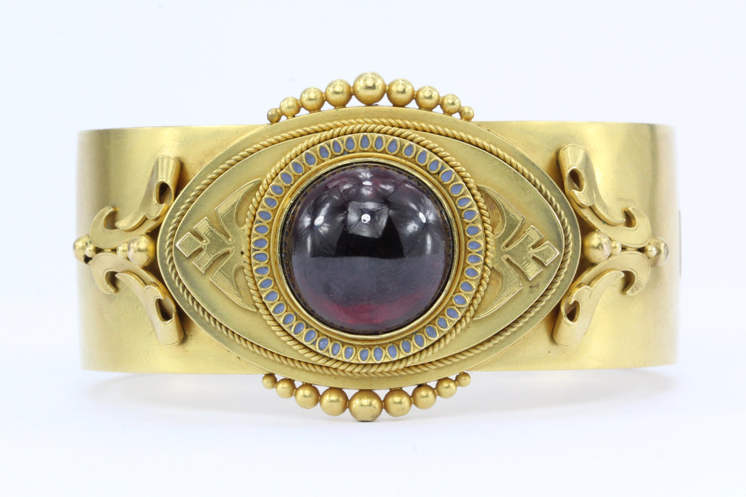 Victorian Scottish 15K Gold Garnet Carbuncle Enamel Bangle Bracelet c.1860's - Queen May
