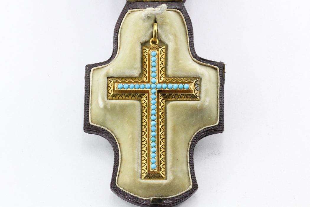 Victorian 15K Gold Persian Turquoise Pierced Cross Pendant c.1880 in Box - Queen May