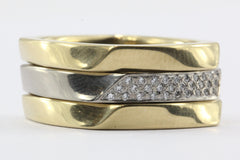 Set of 3 Tiffany & Co 750 18K White & Yellow Gold Frank Gehry Torque Ring Bands
