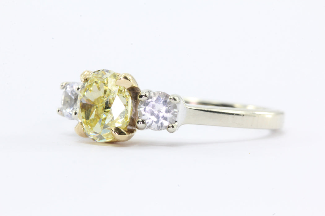 GIA 1.01 Fancy Intense Yellow Oval Cut Diamond Engagement 14K Gold Ring - Queen May