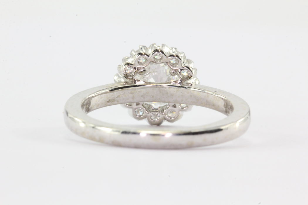 14k White Gold 1ctw Diamond Halo Engagement Ring - Queen May