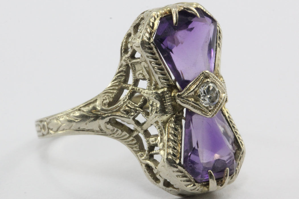 Antique Art Deco 14K White Gold Amethyst & Diamond Ring - Queen May