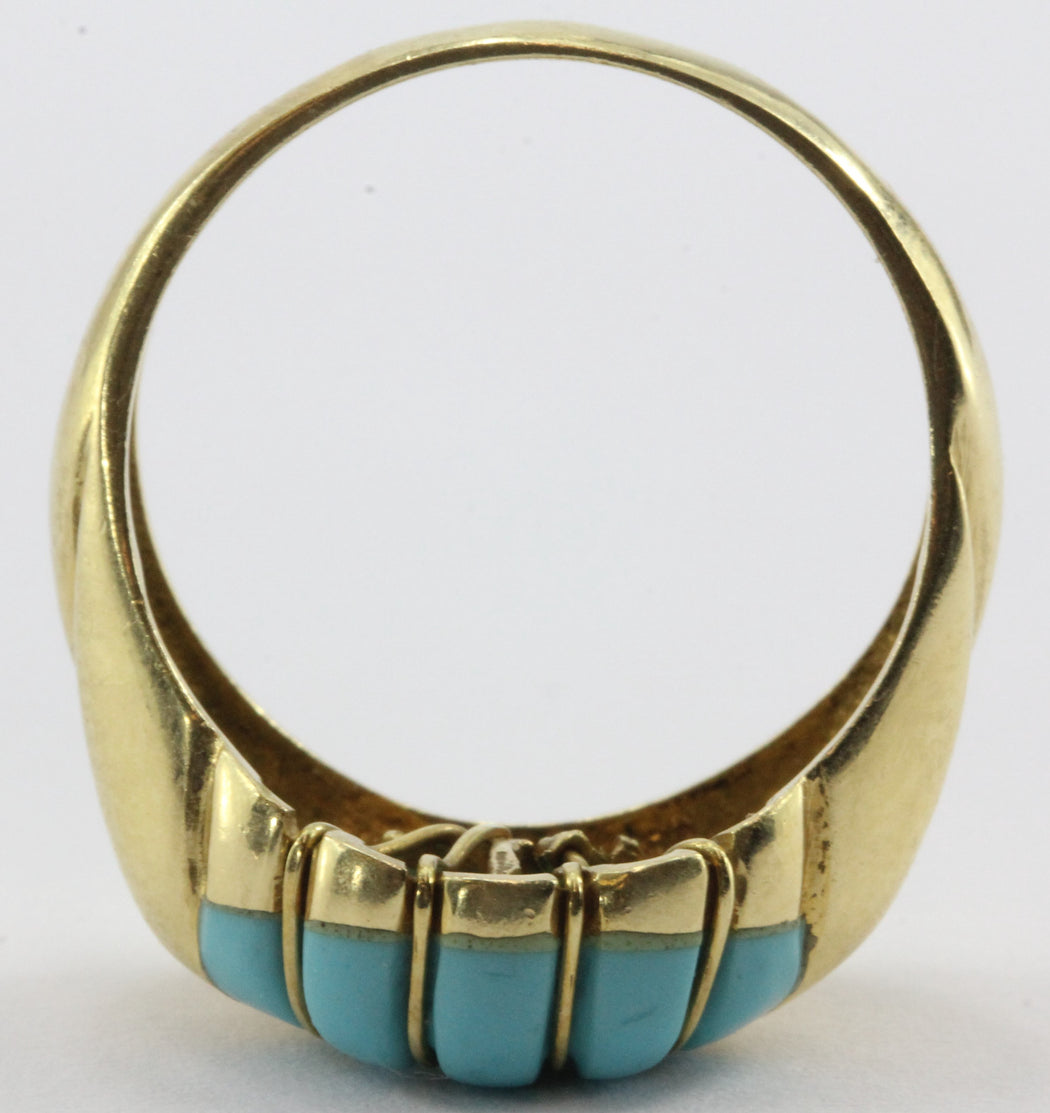 Vintage Greek 18K Gold Turquoise Art Deco Ring - Queen May