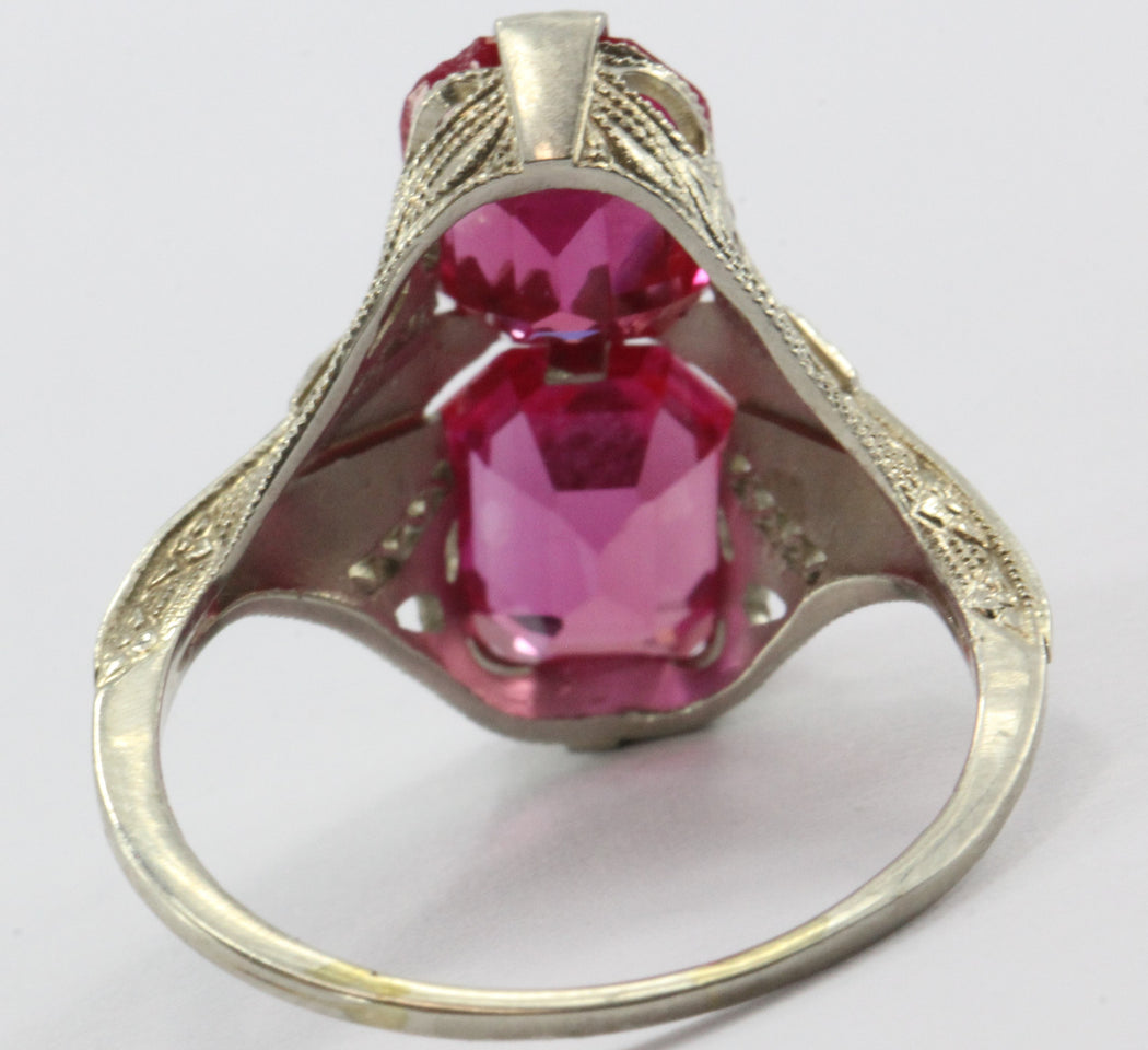 Antique 14K White Gold Art Deco Ruby Ring - Queen May