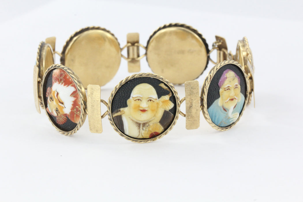 Antique 18K Gold Japanese Toshikane 7 Lucky Gods Bracelet Signed RARE 8.25""