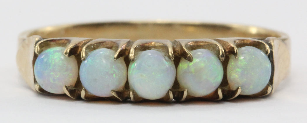 Antique Art Nouveau 14K Gold & Opal Band Ring with Heart Accents - Queen May