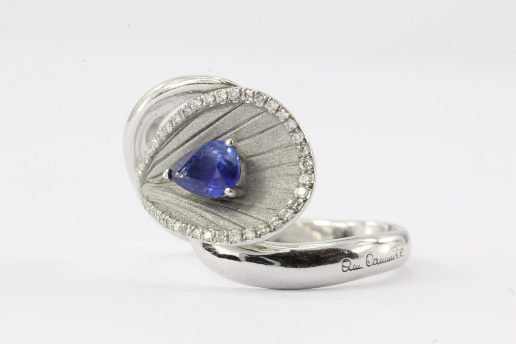 Annamaria Cammilli Premier Color Diamond and Sapphire 18K White Gold Ring