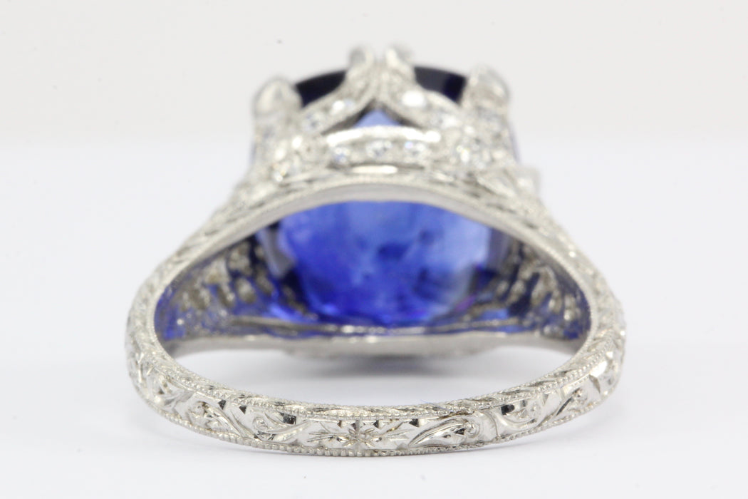 18K White Gold 7.27 Carat Natural Ceylon (Sri Lankan) Blue Sapphire Ring