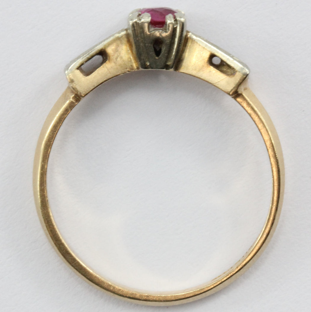 Antique Art Deco 14K Gold Ruby Ring - Queen May