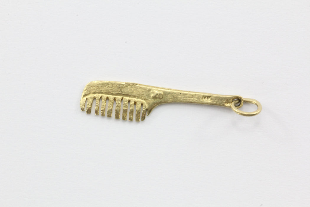 Vintage 14K Gold Hair Comb Charm - Queen May