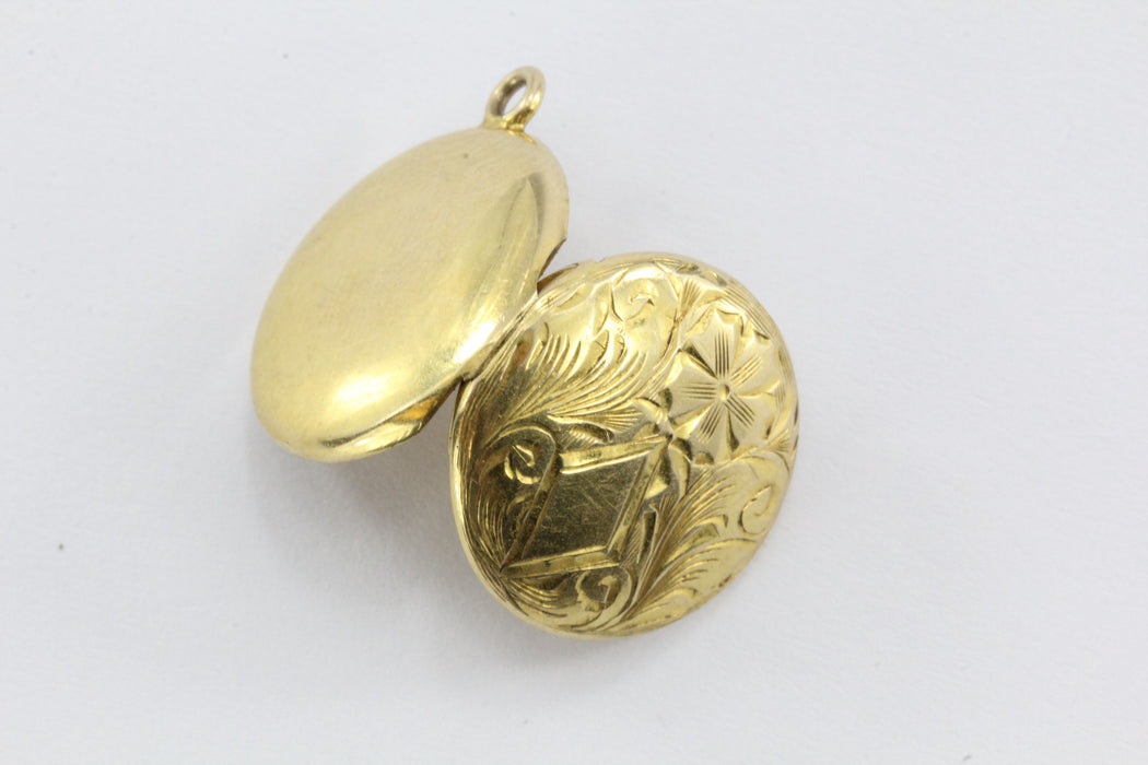 Vintage 10K Gold Art Nouveau Small Round Locket Pendant / Charm - Queen May