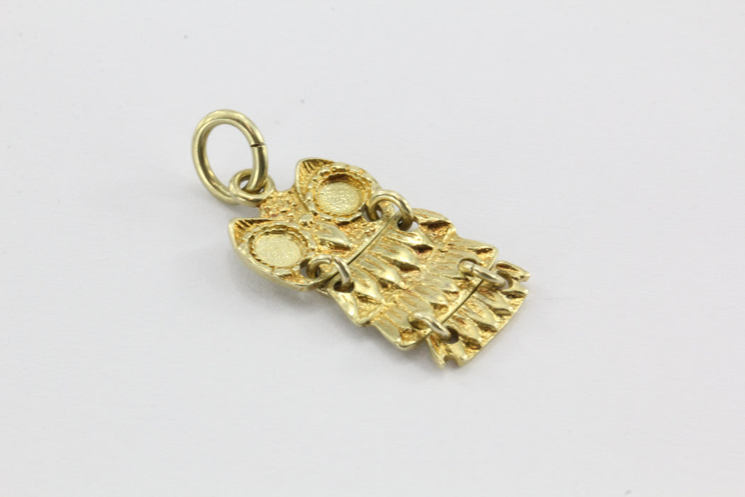 Vintage 14K Gold Greek Athenic Owl Charm Pendant - Queen May