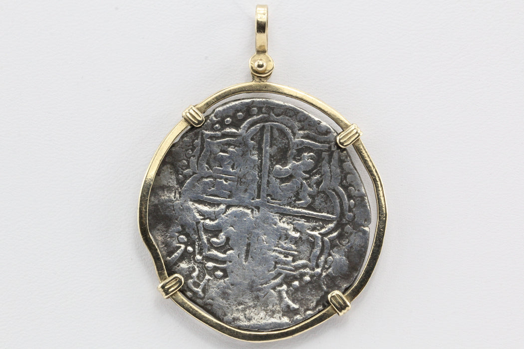 Spanish Silver 8 Reales / Piece of 8 in 14K Gold Bezel Pendant - Queen May