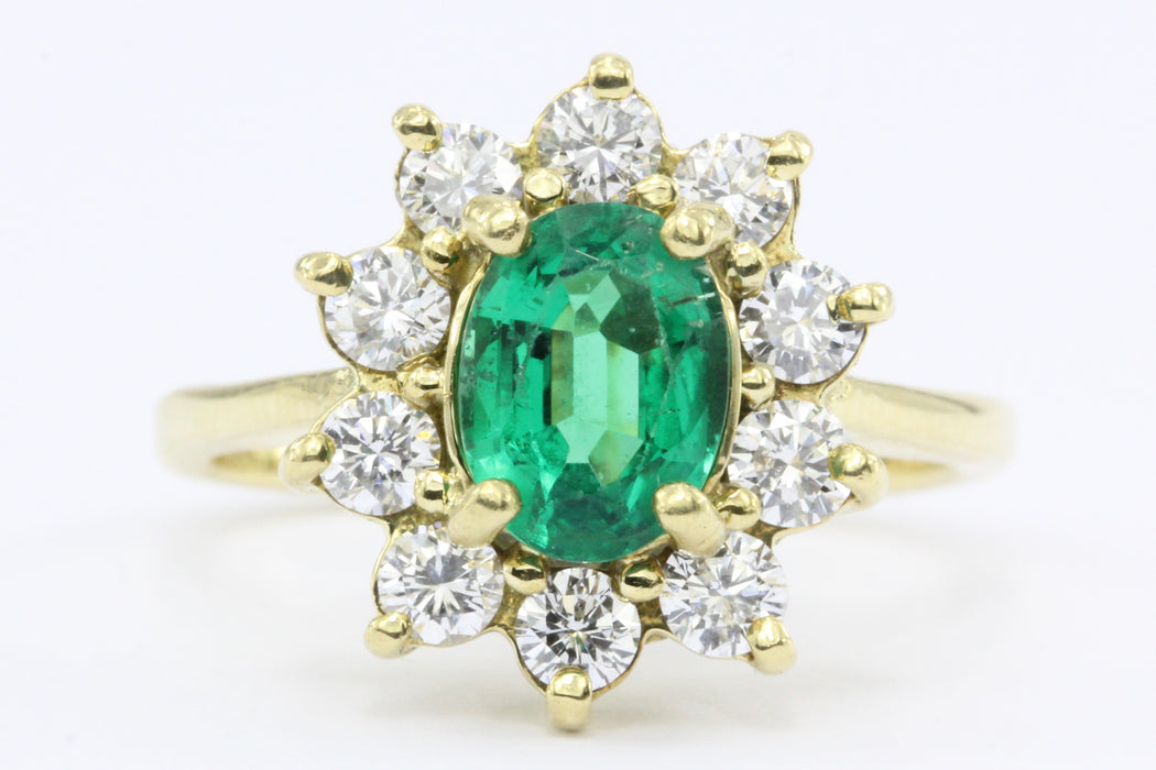 18K Gold 1ctw Emerald Diamond Halo Ring - Queen May