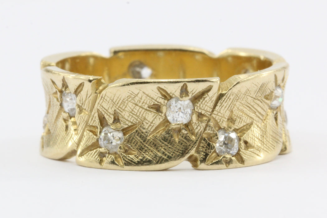 Retro 14K Gold Diamond Starburst Eternity Band Ring c.1940's - Queen May