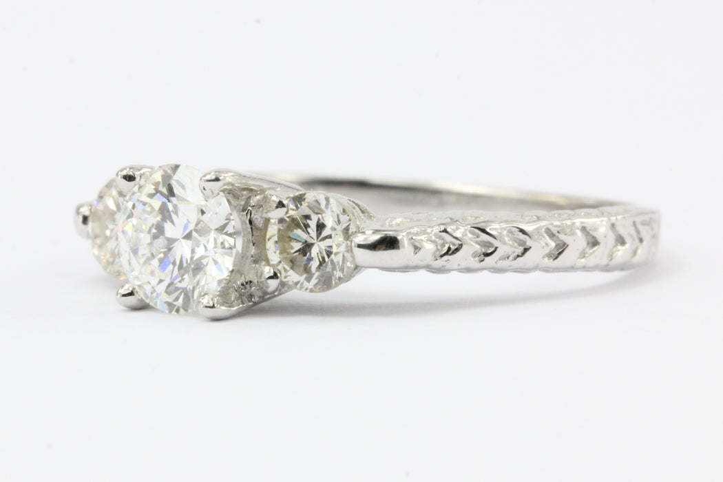 14K White Gold Vintage Inspired 1 CTW Diamond 3 Stone Engagement Ring Size 6.25