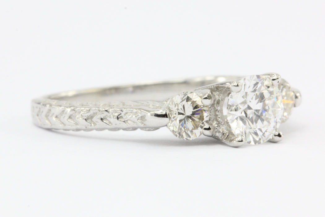 14K White Gold Vintage Inspired 1 CTW Diamond 3 Stone Engagement Ring Size 6.25 - Queen May