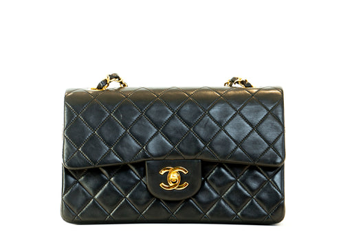 Chanel Vintage Lambskin Small Classic Double Flap Bag Black - Queen May