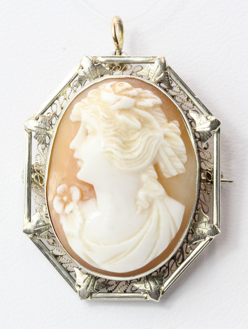 Edwardian 14K Gold Carved Shell Cameo Pendant  / Brooch - Queen May