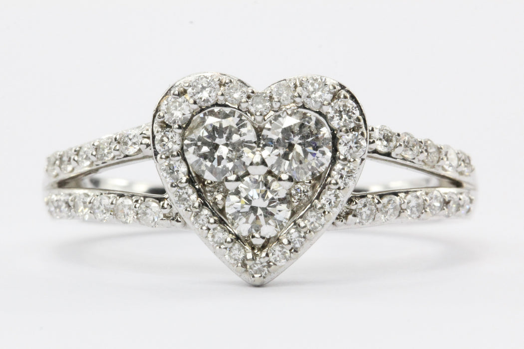 14K White Gold 1/2 Carat Diamond Heart Engagement Ring