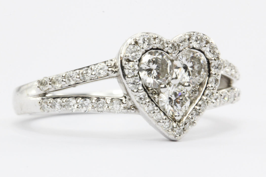 14K White Gold 1/2 Carat Diamond Heart Engagement Ring - Queen May