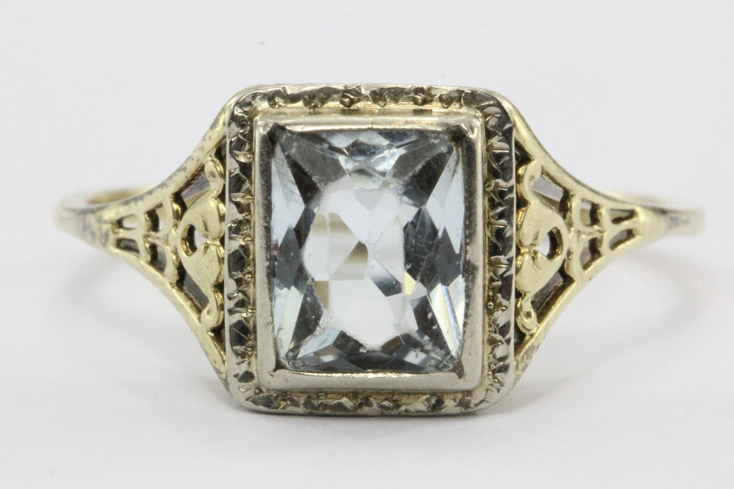 Antique Art Deco 14K Gold 1.55 Carat Aquamarine Ring - Queen May