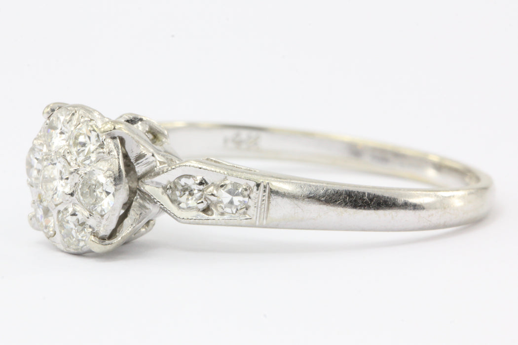 Art Deco 14K White Gold Old European Cut Diamond Cluster Ring c.1920's - Queen May