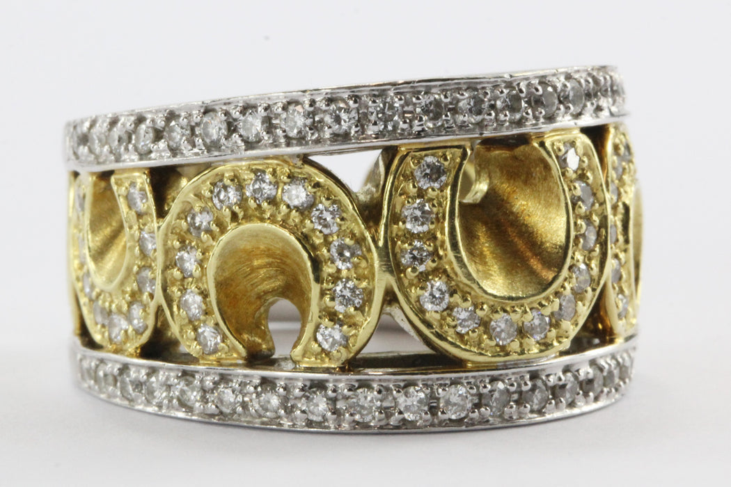 18K White & Yellow Gold Sonia Bitton 1.5 Carat Diamond Horseshoe Ring - Queen May
