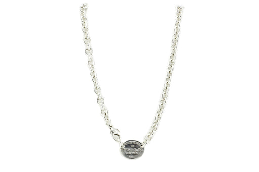 Tiffany & Co. Sterling Silver Oval Tag Necklace - Queen May