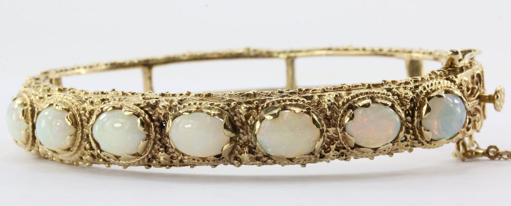 Victorian Revival 14K Gold Opal Bangle Bracelet 7 CTW - Queen May