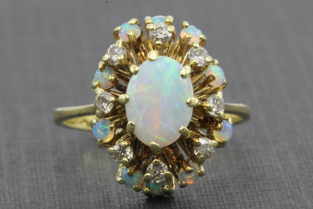 Retro 14K Gold Opal Diamond Cluster Ring c.1950's - Queen May