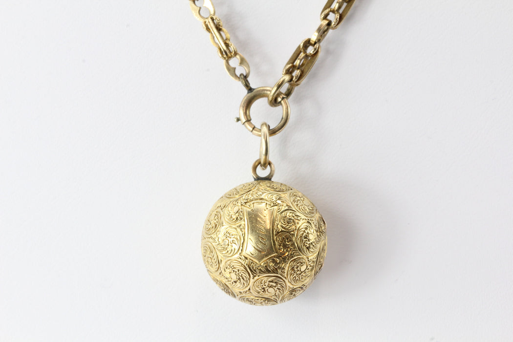 Victorian 18K Gold Ball Locket Pendant on 14K Gold Chain - Queen May
