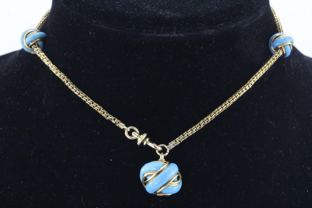 Antique 18K Gold & Turquoise Enamel Watch Chain Conversion Necklace / Bracelet