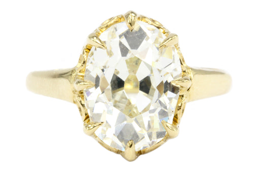 Victorian 18K 4.26CT Antique Old Mine Oval Cut French Diamond Ring - Queen May