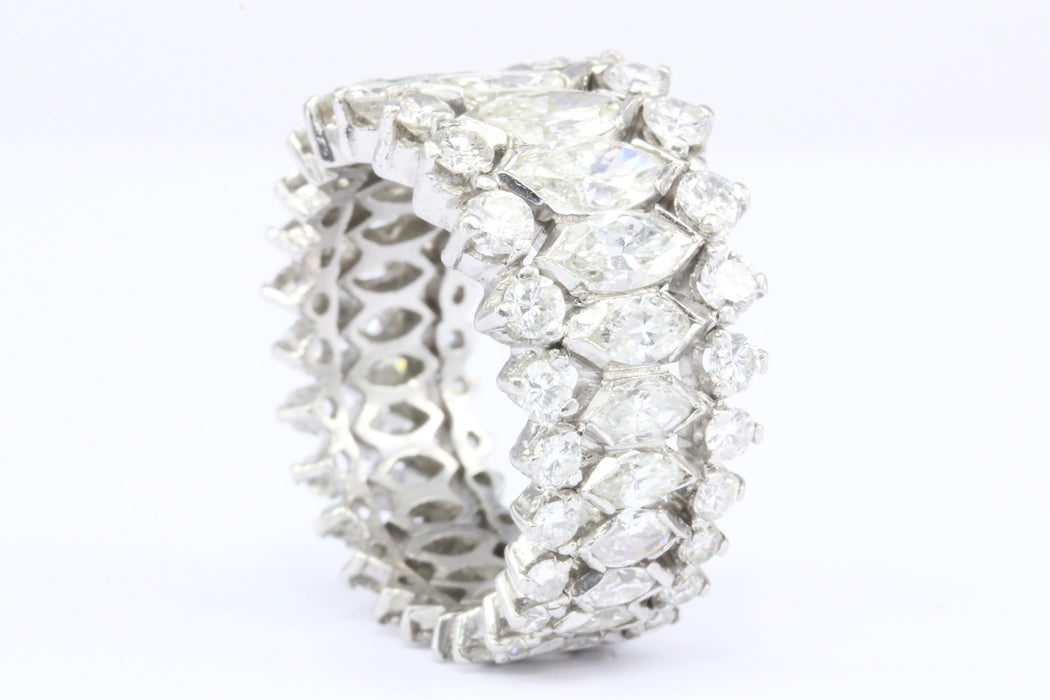 Retro Platinum Marquise and Round Brilliant Diamond Eternity Band Size 6 - Queen May
