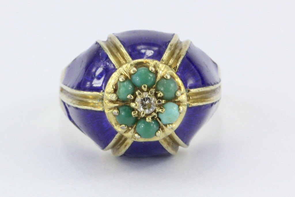 Antique Art Deco Enos Richardson Blue Enamel, Turquoise & Diamond Dome Ring