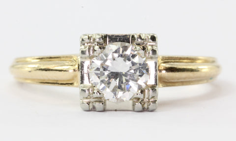 Art Deco 1930's 14K Transition Cut Diamond Engagement Ring by Alfred Humbert