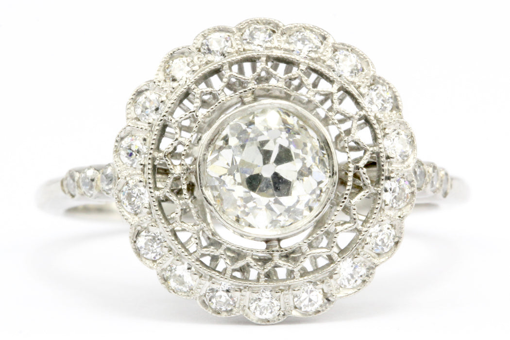 Edwardian Style Handmade Platinum Old European Cut Diamond Halo Ring Size 6.5 - Queen May