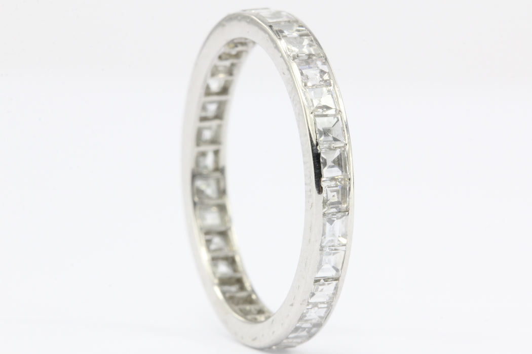 Art Deco Platinum Rare Carre Cut Diamond Eternity Band Size 5.5 - Queen May